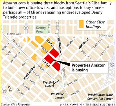 Amazon buys three blocks in Seattle