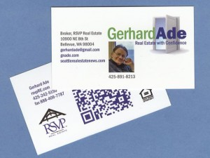 Gerhard Ade Business Card RSVP Real Estate