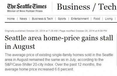 Case Shiller Index - Seattle Area August Home Prices