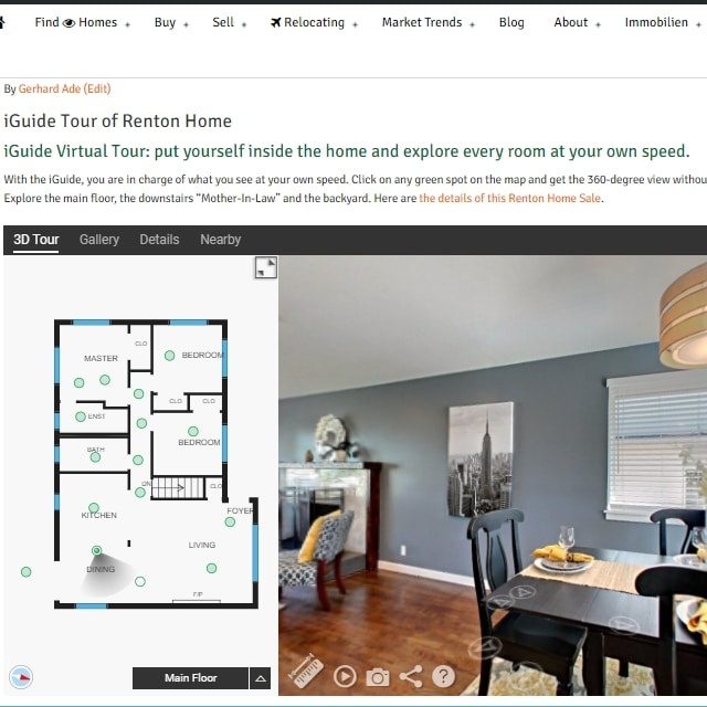 Real Estate and Social Media - Renton Home Sale iGuide Tour page