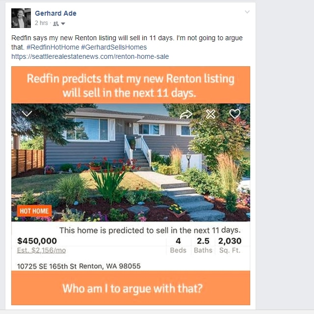 Real Estate and Social Media - Redfin Prediction Renton Home Sale