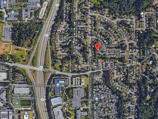 Redmond Home near Microsoft - aerial view of neighborhood